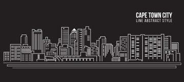 Линия дизайн здания городского пейзажа иллюстрации вектора искусства - город Кейптауна Стоковая Фотография RF