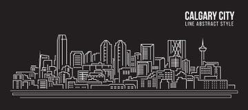Линия дизайн здания городского пейзажа иллюстрации вектора искусства - город Калгари Стоковые Изображения