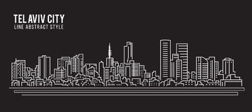 Линия дизайн здания городского пейзажа иллюстрации вектора искусства - город Тель-Авив иллюстрация штока