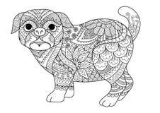 Линия дизайн искусства милой собаки мопса для элемента дизайна, дизайн футболки и страница книжка-раскраски взрослого также векто Стоковое фото RF