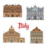 Линия дизайн итальянского ориентир ориентира перемещения тонкая значка установленный иллюстрация штока