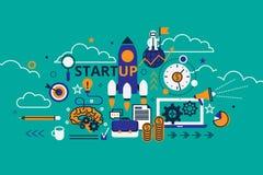 Линия дизайн иллюстрации вектора плоская Концепция startup проекта стоковое изображение rf