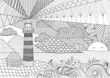 Линия дизайн для книжка-раскраски для взрослого, анти- расцветка Seascape искусства стресса - запас иллюстрация вектора