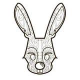 Линия изображение вектора для терапии искусства с кроликом Стоковое Изображение