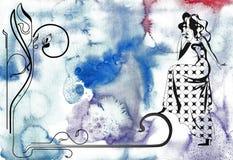 линия иллюстрации стиля Арт Деко Стоковая Фотография