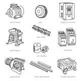 Линия иллюстрации технологии привода любит моторы Стоковое Изображение