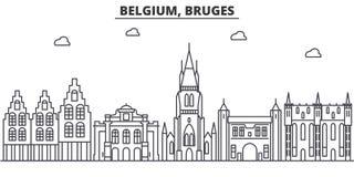 Линия иллюстрация архитектуры Бельгии, Брюгге горизонта Линейный городской пейзаж с известными ориентир ориентирами, визирования  иллюстрация вектора