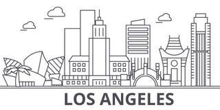 Линия иллюстрация архитектуры Лос-Анджелеса горизонта Линейный городской пейзаж с известными ориентир ориентирами, визирования ве Стоковое Изображение RF