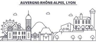 Линия иллюстрация архитектуры Франции, Лиона горизонта Линейный городской пейзаж с известными ориентир ориентирами, визирования в иллюстрация вектора