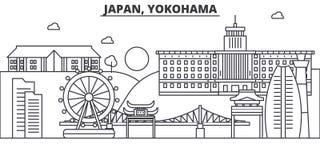 Линия иллюстрация архитектуры Японии, Иокогама горизонта Линейный городской пейзаж с известными ориентир ориентирами, визирования иллюстрация вектора