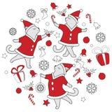 Линия иллюстрация вектора котов doodle искусства милая танцуя для рождества иллюстрация штока