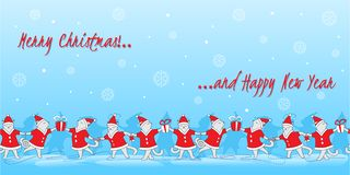 Линия иллюстрация вектора котов doodle искусства милая танцуя рождество знамени смешное бесплатная иллюстрация