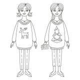 Линия иллюстрация девушек рождества вектора Стоковые Изображения