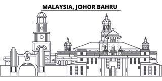 Линия иллюстрация Малайзии, Джохора Bahru вектора горизонта Малайзия, городской пейзаж Джохора Bahru линейный с известными ориент иллюстрация вектора