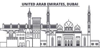 Линия иллюстрация Объединенных эмиратов, Дубай вектора горизонта Объединенные эмираты, городской пейзаж Дубай линейный с известно бесплатная иллюстрация