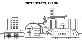 Линия иллюстрация Соединенных Штатов, Akron вектора горизонта Южные положения Aunited, городской пейзаж Akron линейный с известно бесплатная иллюстрация
