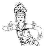 Линия иллюстрация танцора Бали искусства бесплатная иллюстрация