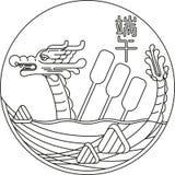 Линия иллюстрация фестиваля шлюпки дракона искусств иллюстрация штока
