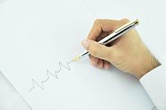 Линия ИМПа ульс сочинительства руки Стоковое Изображение RF