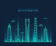 Линия искусство вектора силуэта горизонта города Шанхая Стоковое Изображение RF