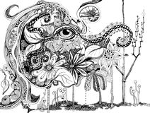 Линия искусство слона абстрактная Стоковые Изображения