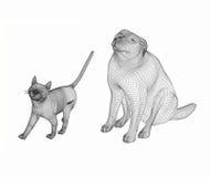 Линия искусство собаки и кошки 3d стоковое фото rf