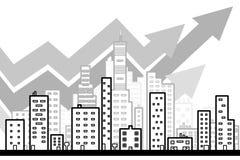 Линия искусство современной большой предпосылки города с стилем дизайна небоскребов плоским Стоковое Фото