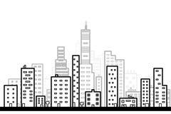 Линия искусство современной большой предпосылки города с стилем дизайна небоскребов плоским Стоковые Изображения