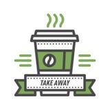 Линия литерность дизайна еды логотипа значка кофе тонкая для ресторана, кофейни меню кафа и ярлыка напитка элемента магазина Стоковое фото RF
