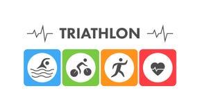 Линия и плоский логотип триатлона Значок плавающ, задействовать и бежать Стоковые Фотографии RF