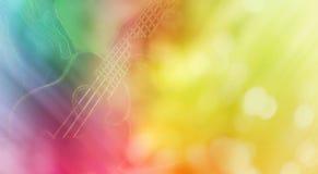 Линия и точная нежность лета девушки и гавайской гитары ослабляют настроение Стоковое Фото