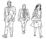 Линия иллюстрация абстрактных людей на белой предпосылке 3 Стоковое Фото