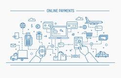 Линия иллюстрация вектора контура искусства плоская онлайн оплаты, денежный перевод, финансовая операция Стоковая Фотография RF