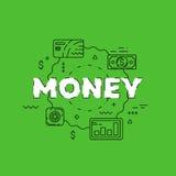Линия иллюстрация денег Линия плоский дизайн для вебсайта Стоковые Фотографии RF