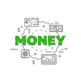 Линия иллюстрация денег Линия плоский дизайн для вебсайта Стоковые Фото