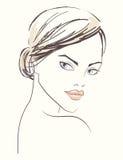 Линия иллюстрация красивой стороны женщины Стоковая Фотография RF