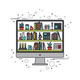 Линия иллюстрация образования компьютера стиля Стоковые Фото