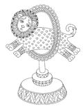 Линия иллюстрация темы цирка - лев искусства Стоковое фото RF