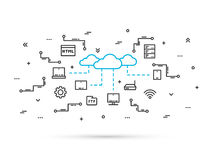 Линия иллюстрация технологии памяти облака вектора Стоковое Изображение