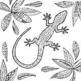 Линия иллюстрация ящерицы Стоковые Изображения RF