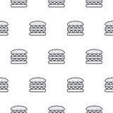 Линия картина бургера вектора значка безшовная Стоковая Фотография RF