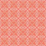 Линия картина сердца белая дизайна дня валентинки на розовой предпосылке Стоковые Изображения RF