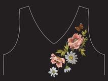 Линия картина шеи вышивки красочная флористическая с маком и помостом Стоковое Изображение