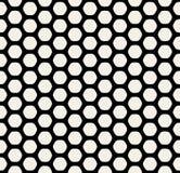 Линия картина шестиугольника вектора безшовная черно-белая округленная сота решетки простая Стоковое Изображение