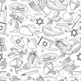 Линия книжка-раскраска Хануки иллюстрации вектора дизайна искусства безшовная Стоковые Изображения