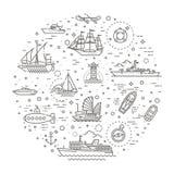 Линия комплект вектора кораблей и шлюпок иллюстрация штока