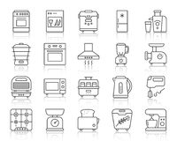 Линия комплект кухонного прибора простая вектора значков иллюстрация штока