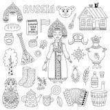 Линия комплект символов значков doodle России традиционная вектора Стоковые Фотографии RF