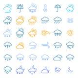 Линия комплект цвета знаков прогноза погоды тонкая значка вектор иллюстрация штока