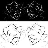 линия комплект драмы искусства маски Стоковая Фотография RF